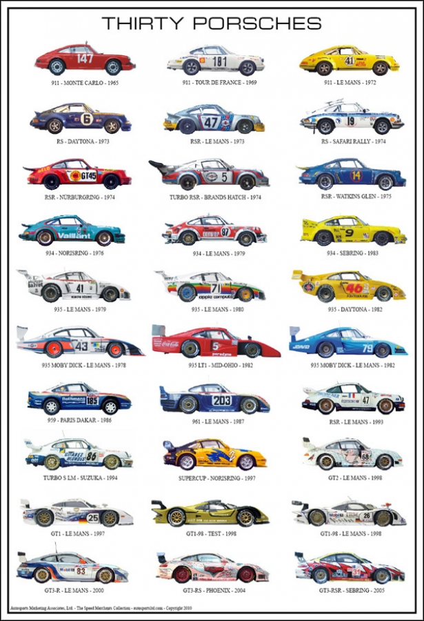 Thirty Porsches Poster Aw1920