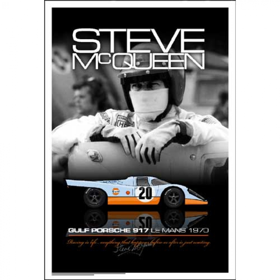 steve mcqueen le mans helmet portait poster aw1926. Black Bedroom Furniture Sets. Home Design Ideas
