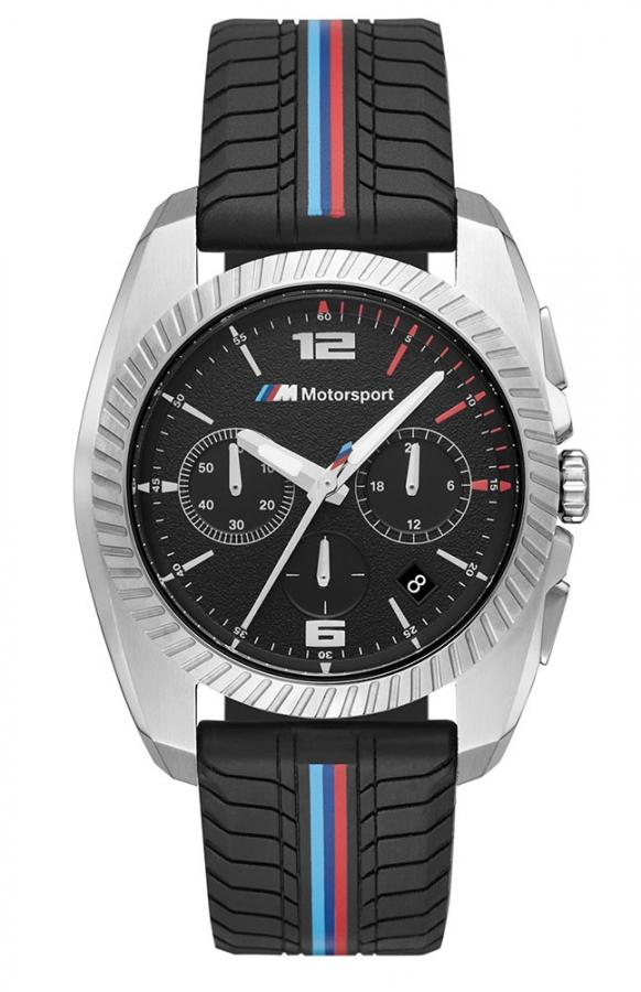 bmw m motorsport black tire tread chronograph watch bm9922. Black Bedroom Furniture Sets. Home Design Ideas