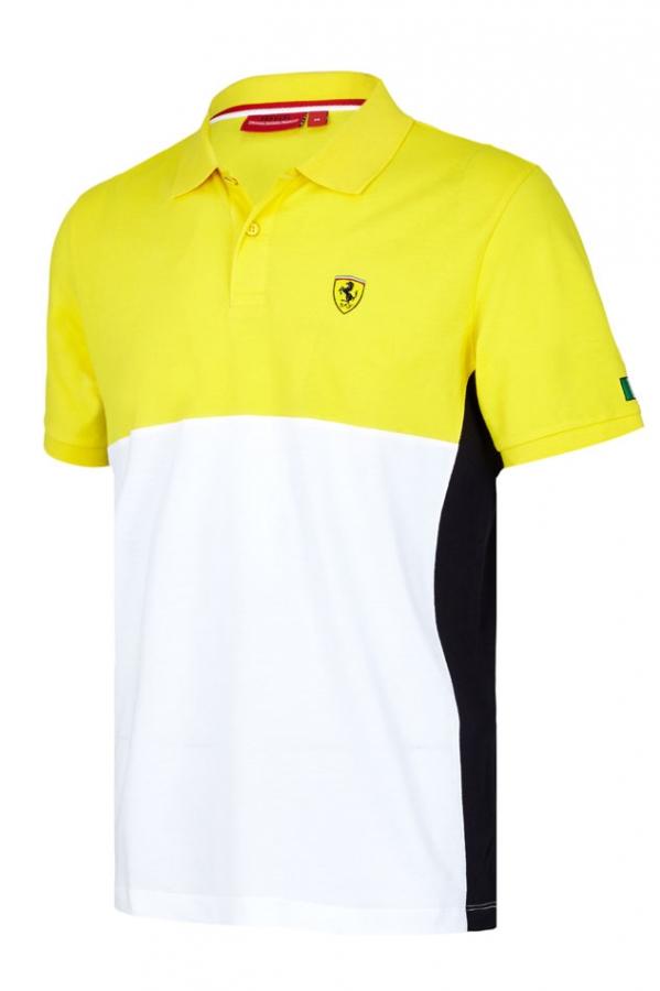 Ferrari Yellow Colorblock Polo Shirt Fb7212