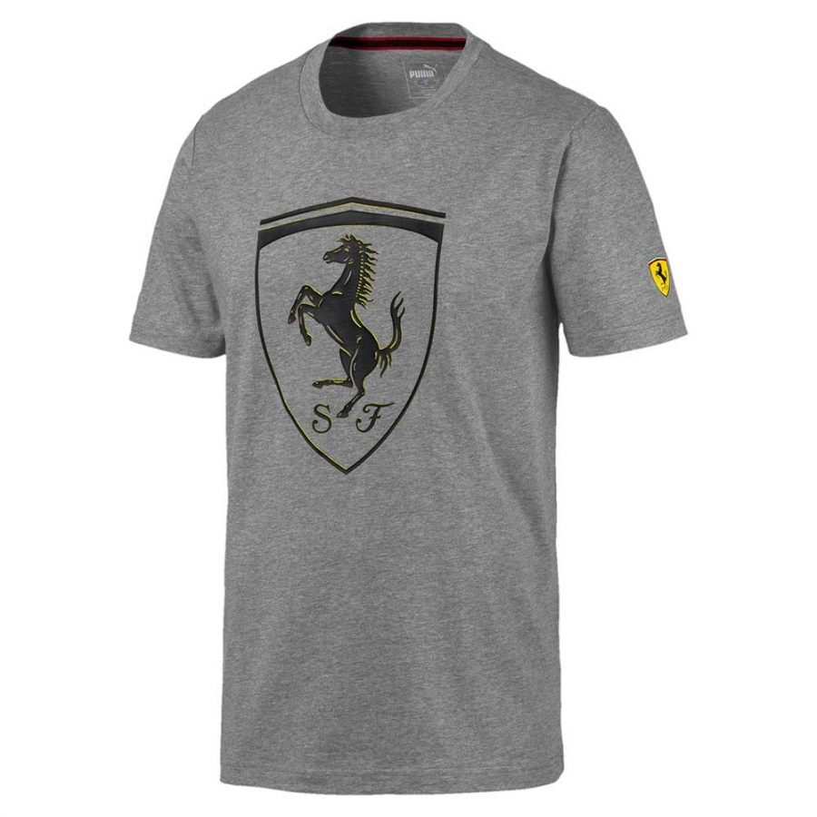Details about Puma Ferrari SF Big Shield Grey Tee Shirt