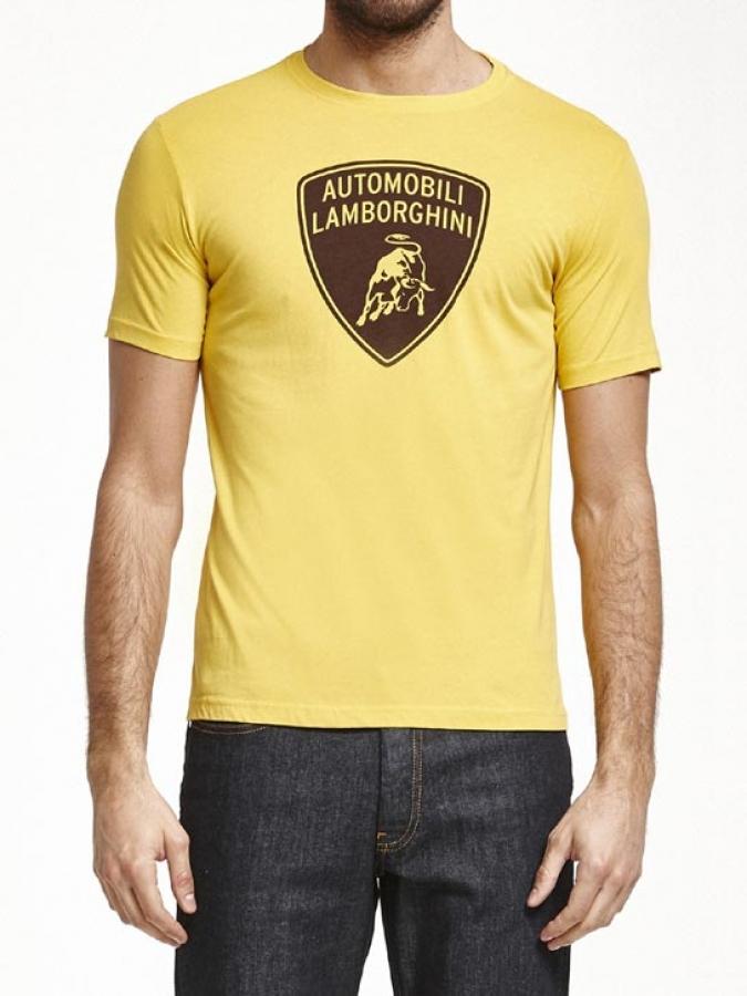 lamborghini yellow shield logo tee shirt ebay. Black Bedroom Furniture Sets. Home Design Ideas