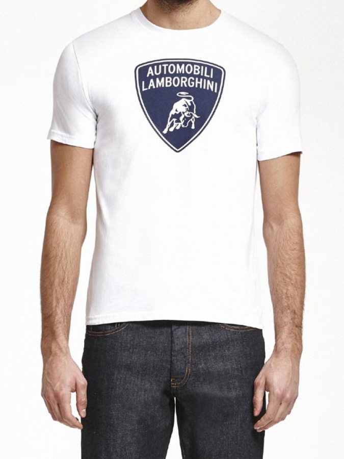 automobili lamborghini white shield tee shirt lb5115. Black Bedroom Furniture Sets. Home Design Ideas
