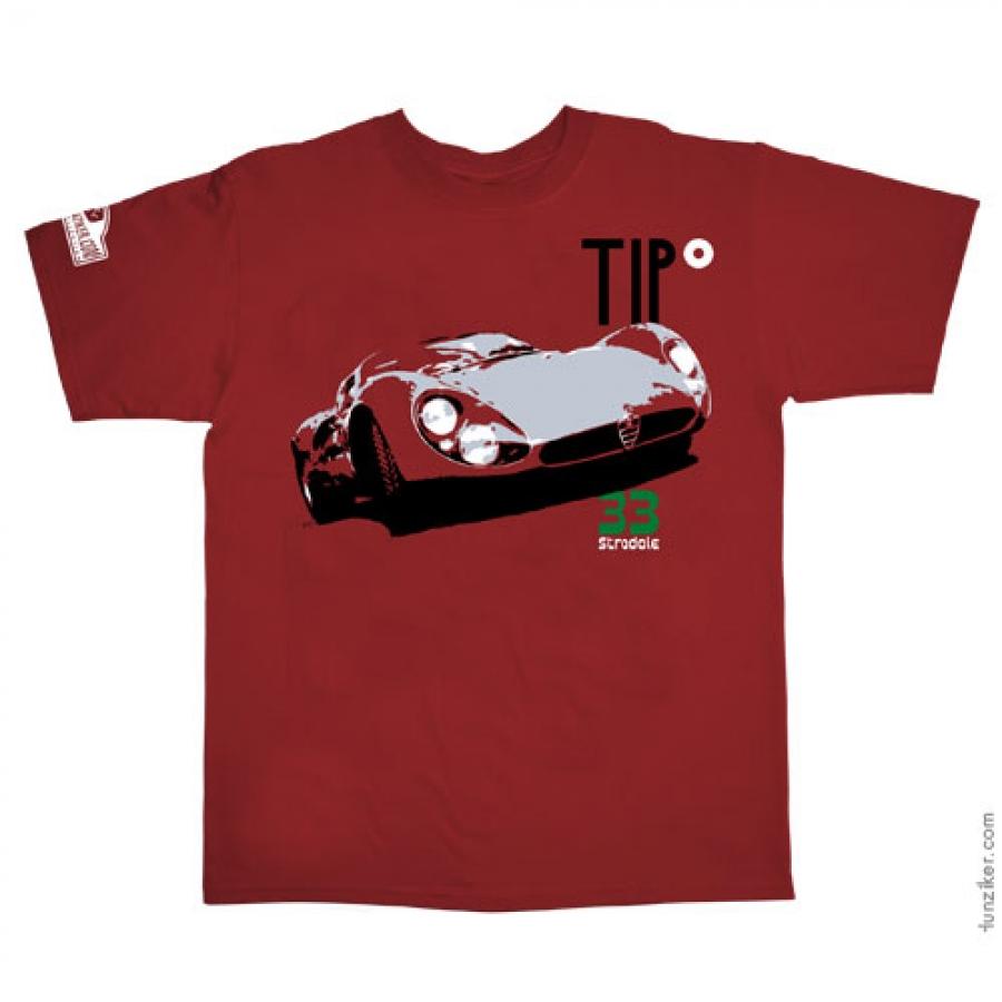 Hunziker Tipo 33 Stradale Red Tee Shirt- ZNH0008