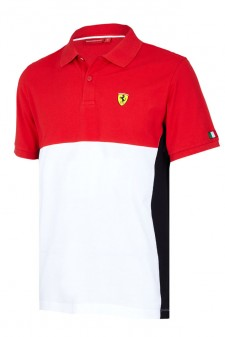 Ferrari Red Colorblock Polo Shirt